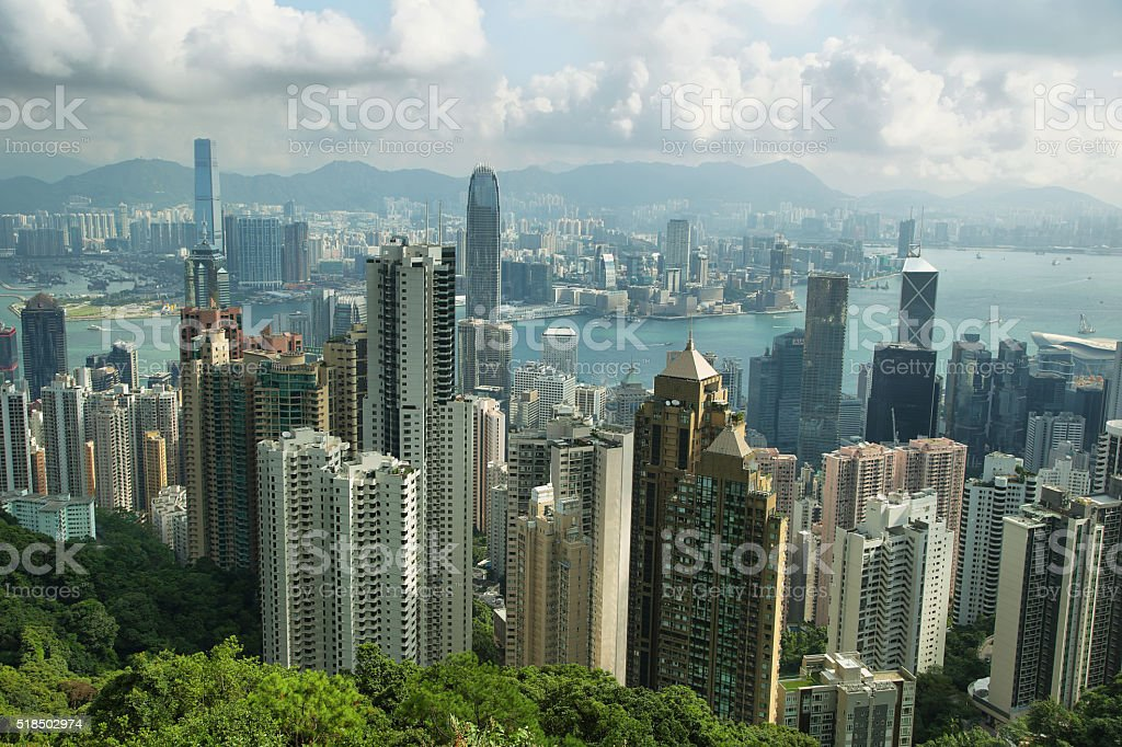 View of Skyscrapers in Hong Kong island stock photo