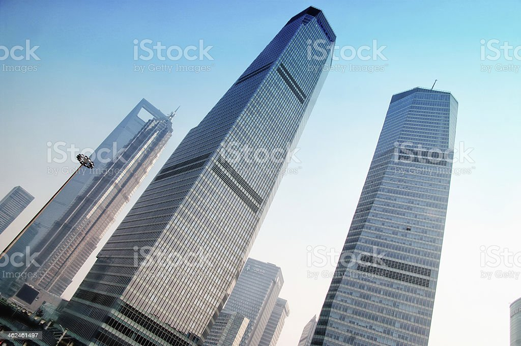 SHANGHAI  view of skyscrapers Pudong stock photo