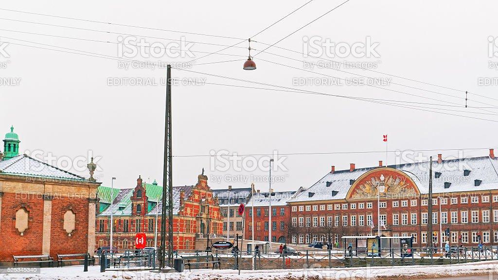 View of Slotsholm Street in Copenhagen in winter stock photo