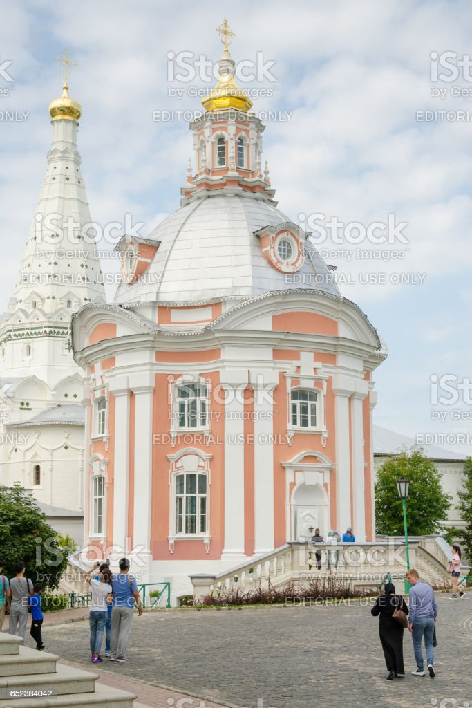 Sergiev Posad - August 10, 2015: View of Smolensk temple of the Holy Trinity St. Sergius Lavra stock photo