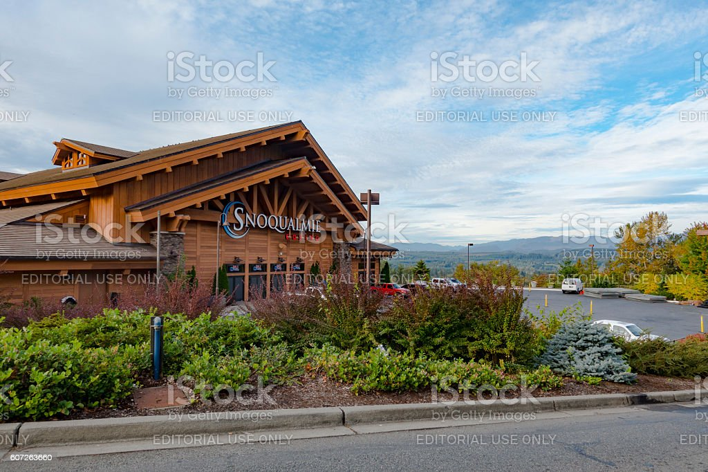 View of Snoqualmie Casino and Natural Landscape Backdrop stock photo