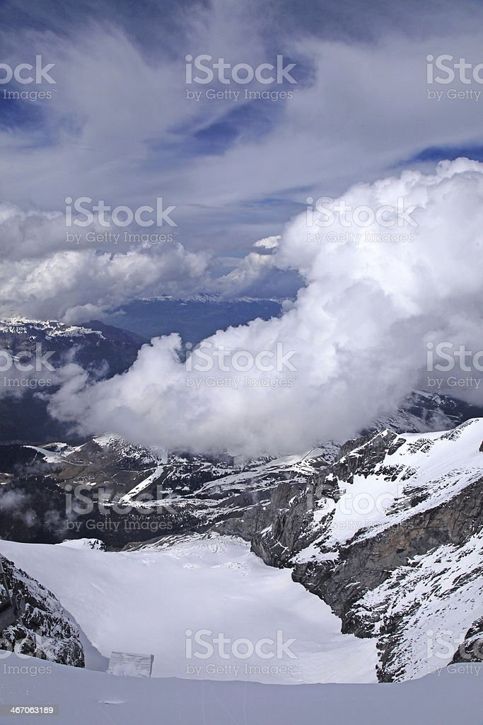 View of Snow Covered Jungfrau in Swiss Alps royalty-free stock photo
