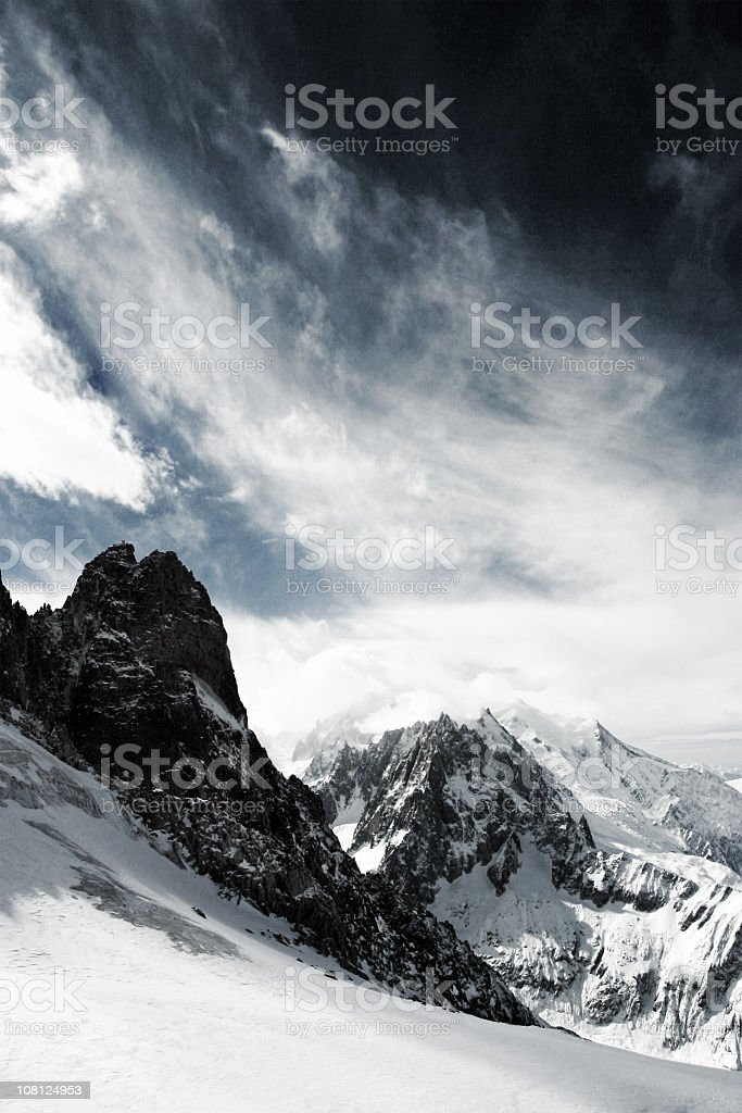 View of Snow Covered Mt Blanc in French Alps stock photo