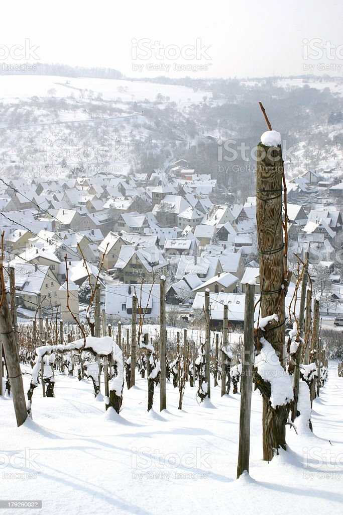 View of snow covered village royalty-free stock photo