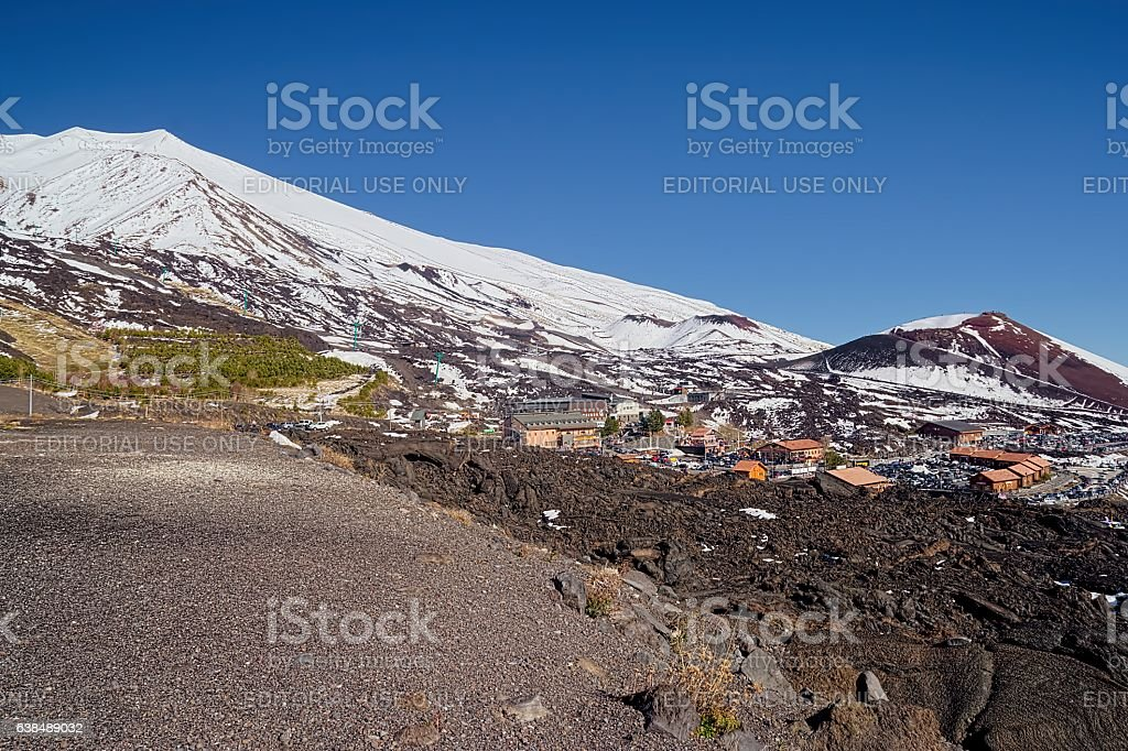 View of snow-capped Mount Etna (Silvestri craters) stock photo