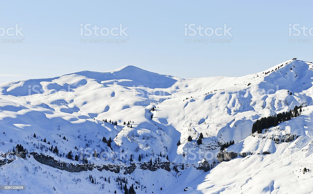 view of snow-capped mountains in Alps stock photo