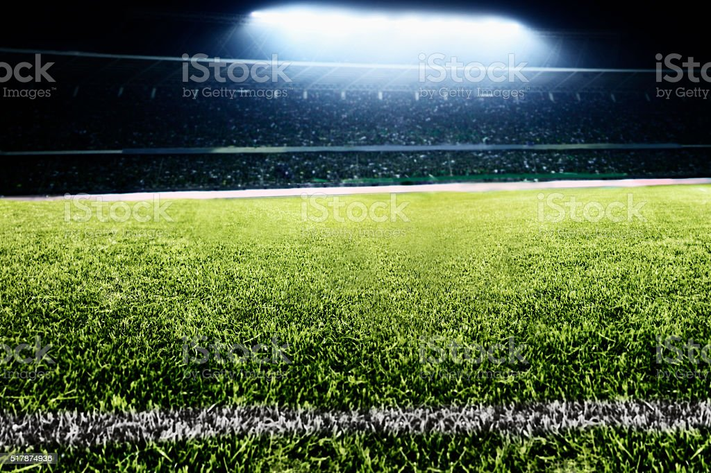 View of soccer field stock photo
