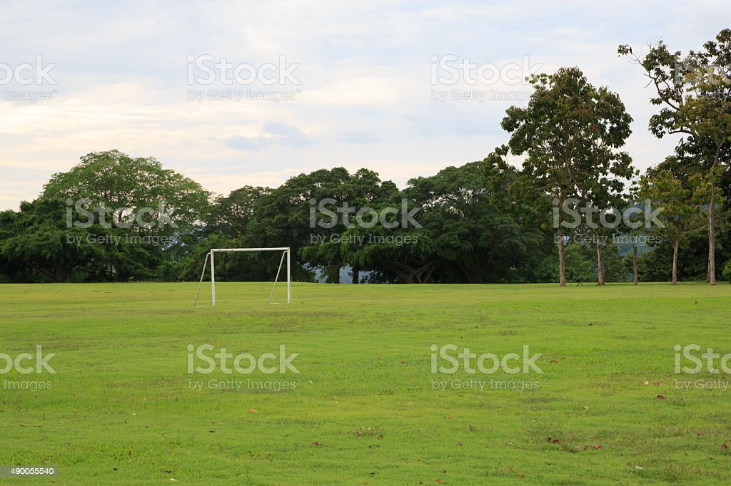 View of soccer pitch stock photo