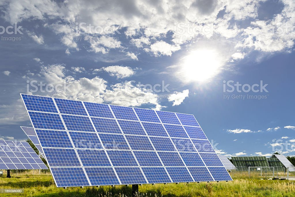 View of solar panels angled, on bright sunny day  royalty-free stock photo