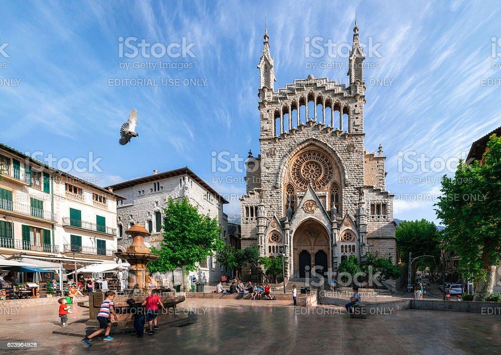 View of Soller with Sant Bartomeu Church, Majorca. стоковое фото