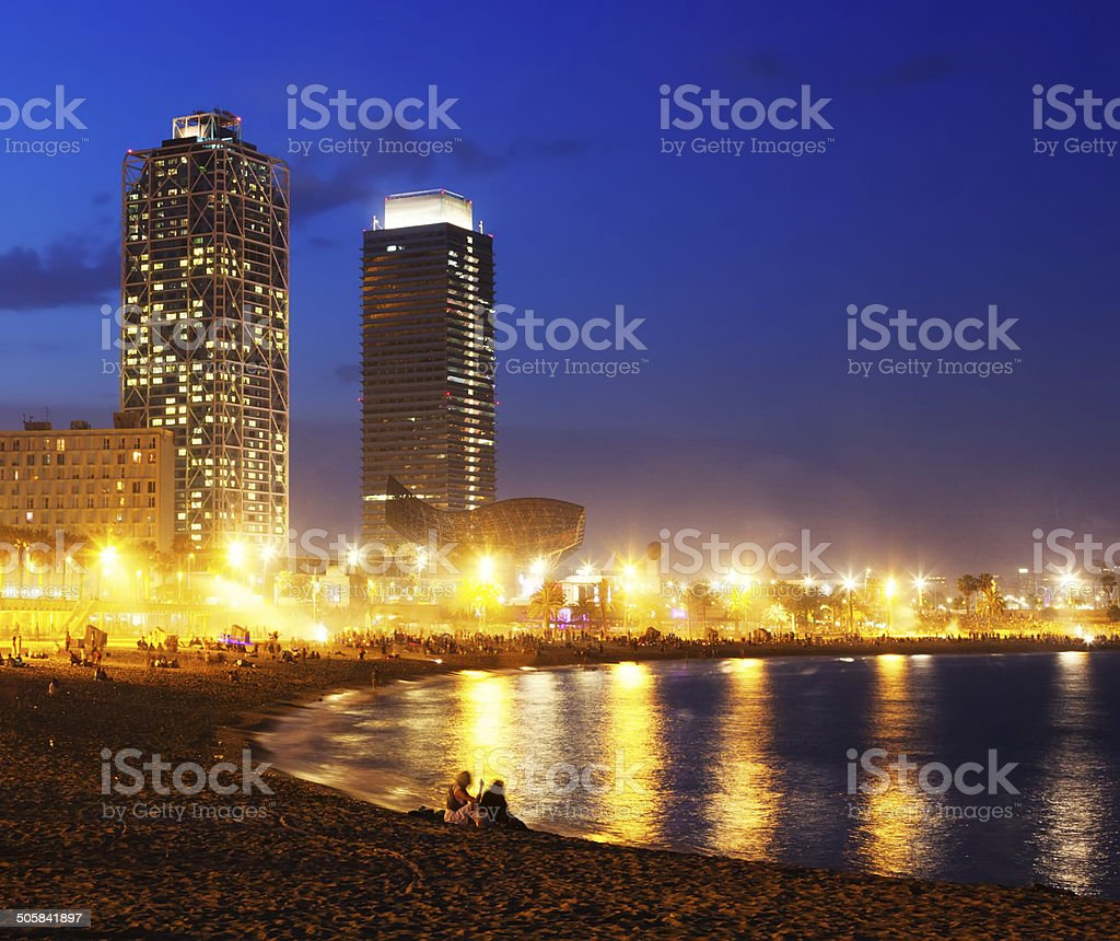 View of Somorrostro Beach  in Barcelona royalty-free stock photo