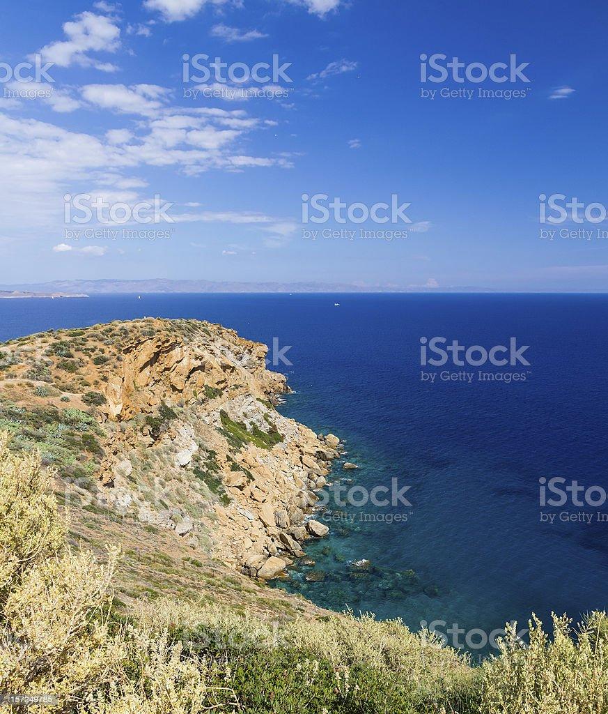 View of Sounio cape, Attica, Greece stock photo