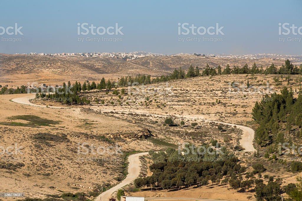 View of soutern Hebron mountans, northern Ber Sheva,  Israel stock photo