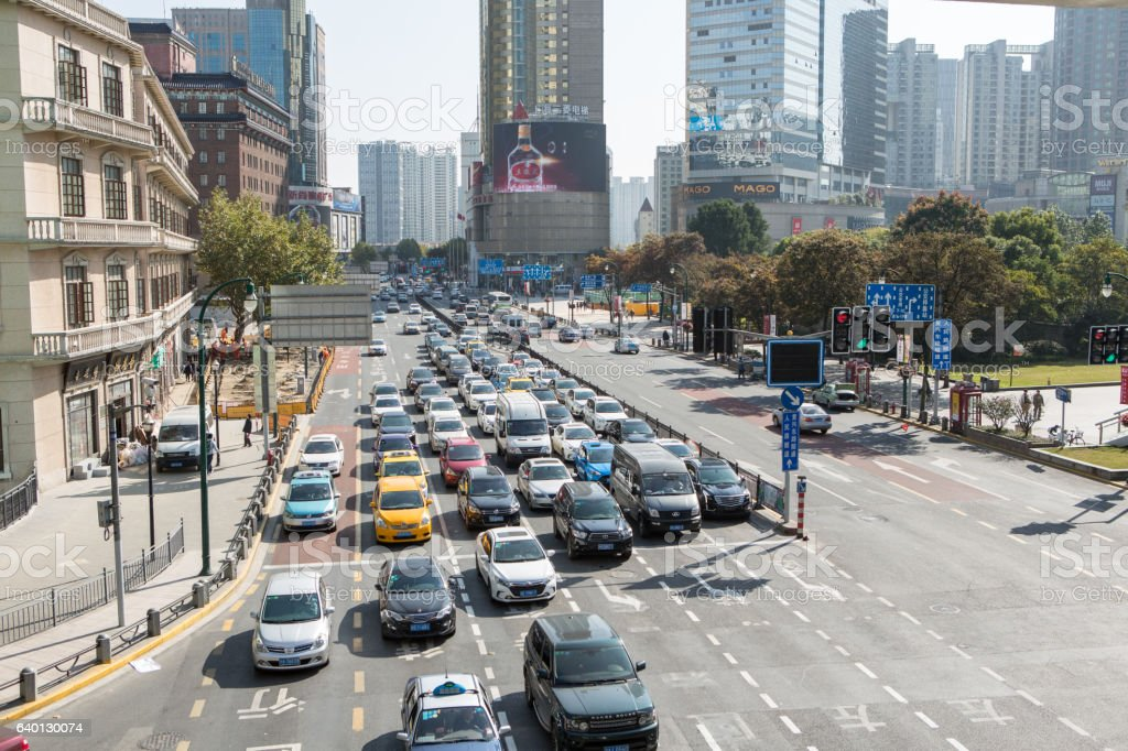 View of South Xizang road in Shanghai, China. stock photo