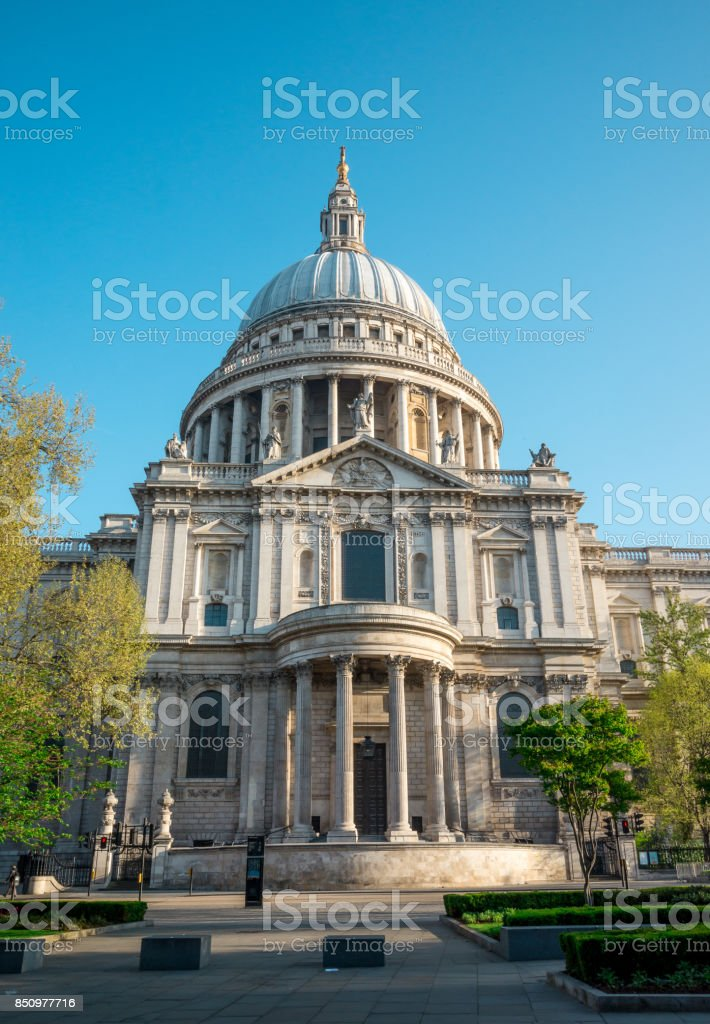 A view of southern entrance to St Paul's Cathedral in London, Great Britain stock photo