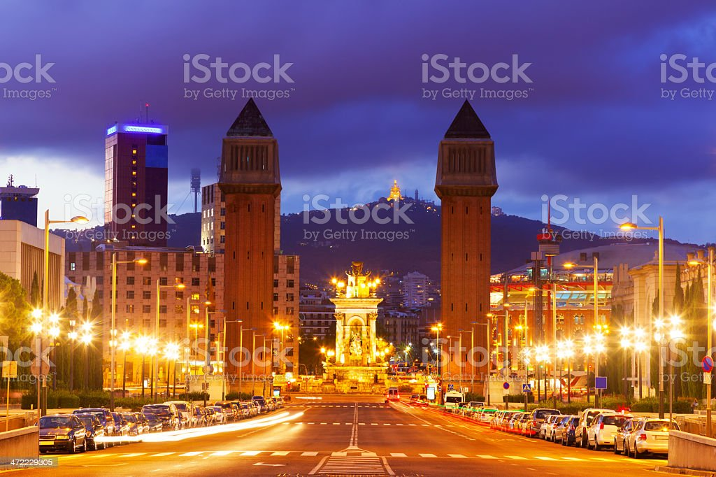 View of Spain square at Barcelona in night stock photo