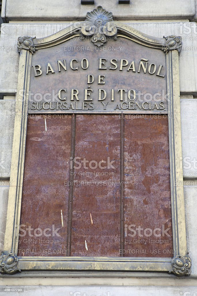 "View of Spanish National Bank ""Banco Espanol de Credito"" royalty-free stock photo"