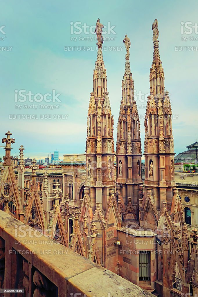 View of spiers in the Duomo of Milan,Italy stock photo