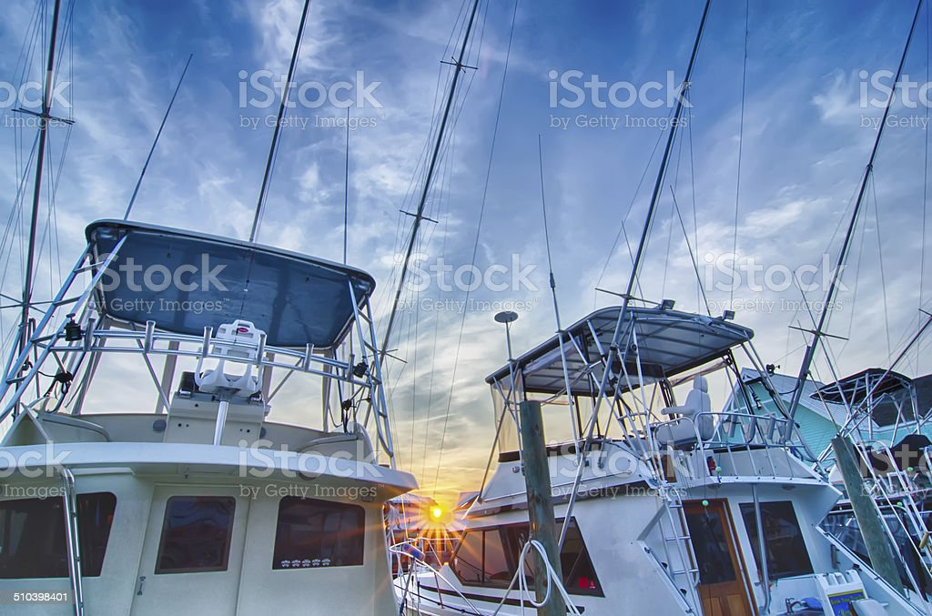 View of Sportfishing boats at Marina stock photo