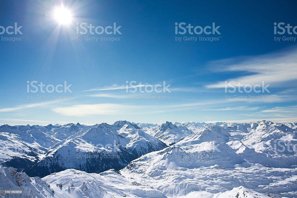 View of St. Anton am Arlberg ski area from Valluga stock photo