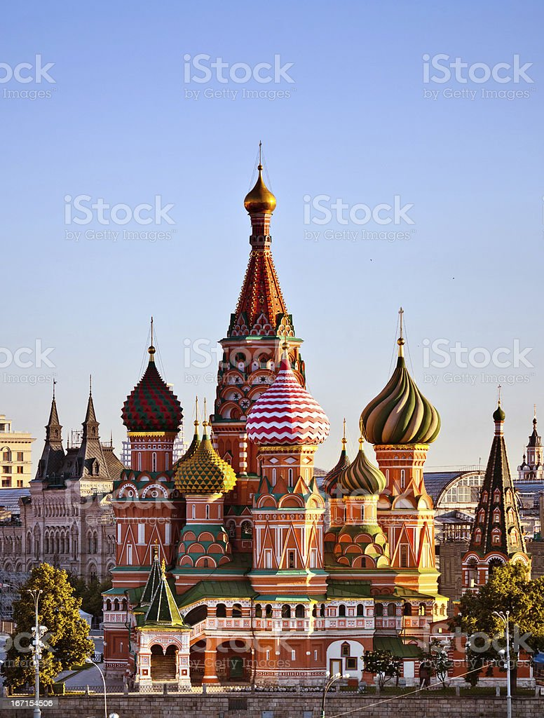 View of St. Basil's Cathedral in early morning stock photo
