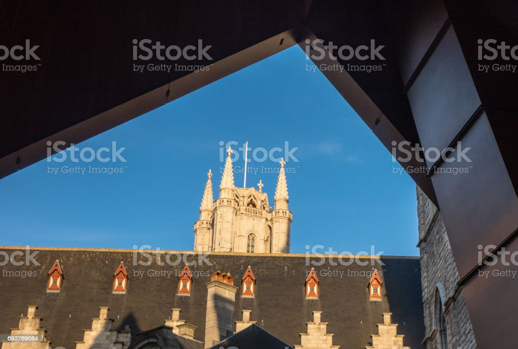 A view of St Bavo's Cathedral in the Ghent stock photo