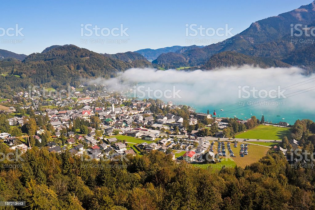 view of St. Gilgen, Wolfgangsee and mountains stock photo