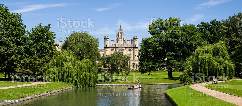 View of St. John's College and the River Cam stock photo
