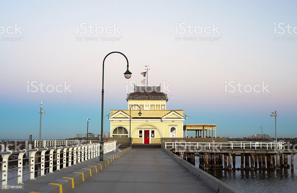 View of St Kilda Kiosk looking down the pier stock photo