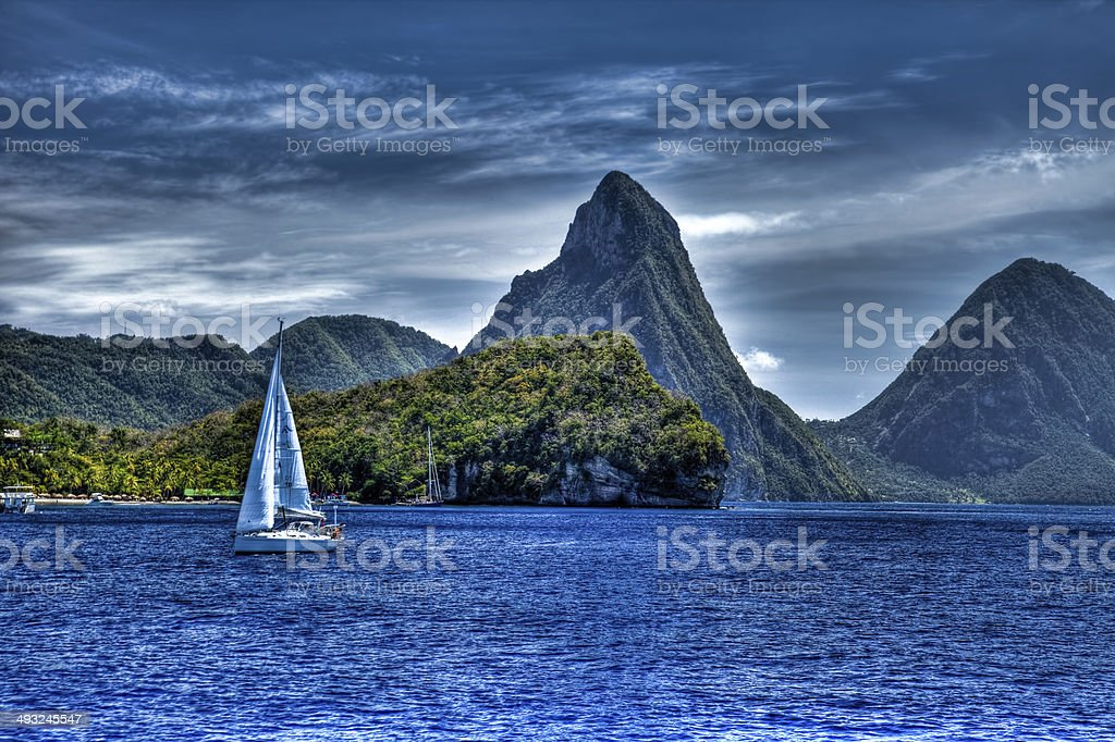 View Of St. Luca Pitons stock photo