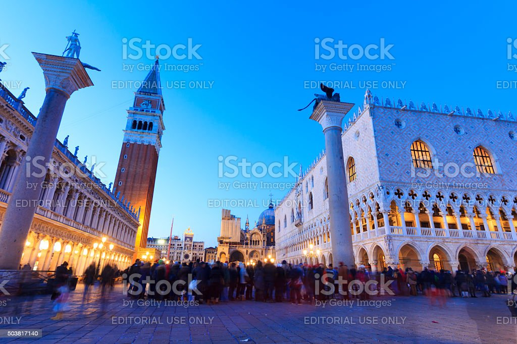 View of St. Mark's square in Venice, Italy by night stock photo