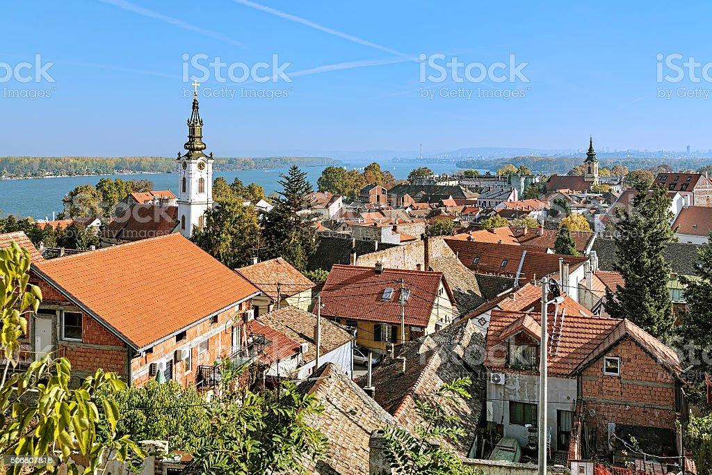 View of St. Nicholas Church, Danube river and Belgrade, Serbia stock photo