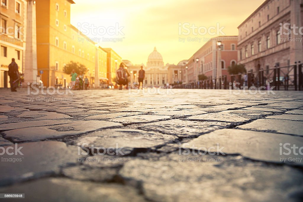 View of St. Peter's Basilica in Rome stock photo