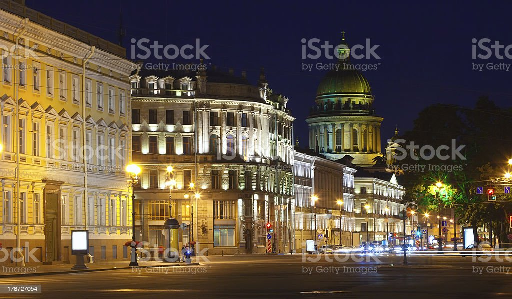 View of St. Petersburg in night stock photo