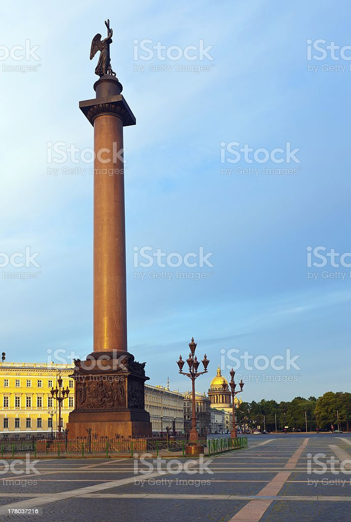 View of St. Petersburg. The Alexander Column stock photo