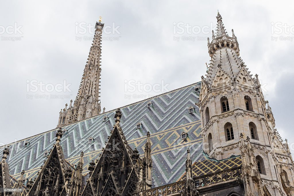 View of St. Stephan cathedral in Vienna, Austria stock photo