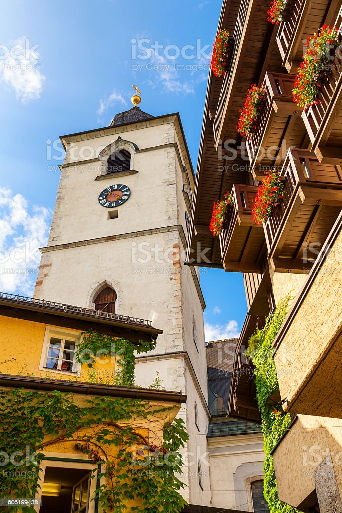 View of St. Wolfgang town in summer, upper Austria stock photo