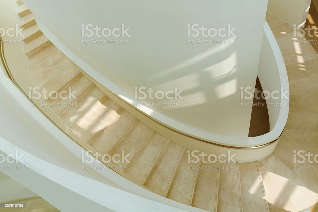 View of staircase in building atrium stock photo