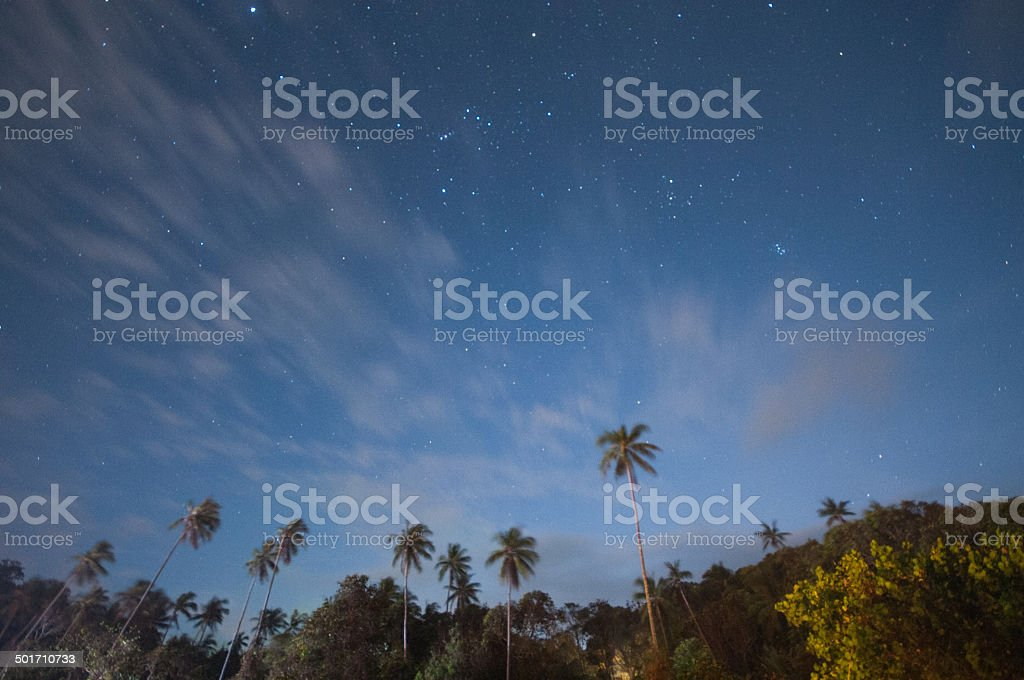 View of stars in an open sky stock photo