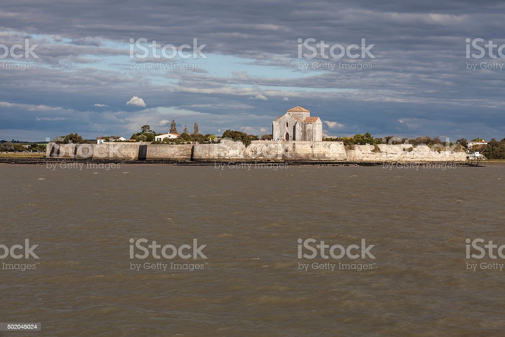 view of Ste Radeguonde roman medieval church,Talmont/Gironde, France stock photo