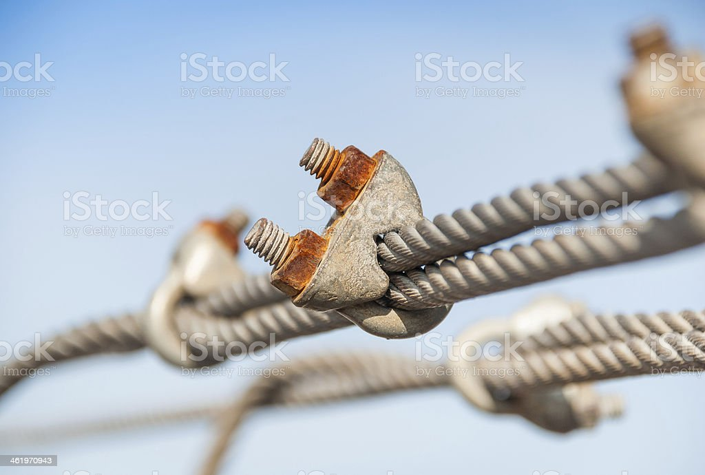 view of steel turnbuckle and cable stock photo