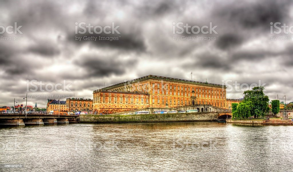 View of Stockholm Royal Palace in Sweden stock photo