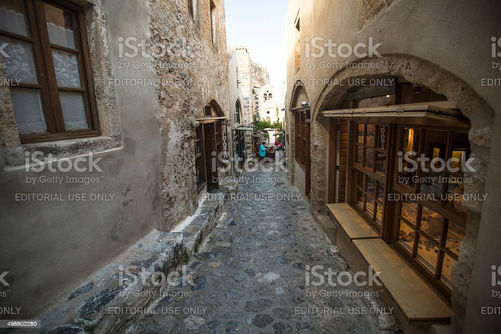 View of stone houses at Medieval fortress. stock photo