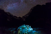 View of Stone rural Building in Nepal Mountains at Night
