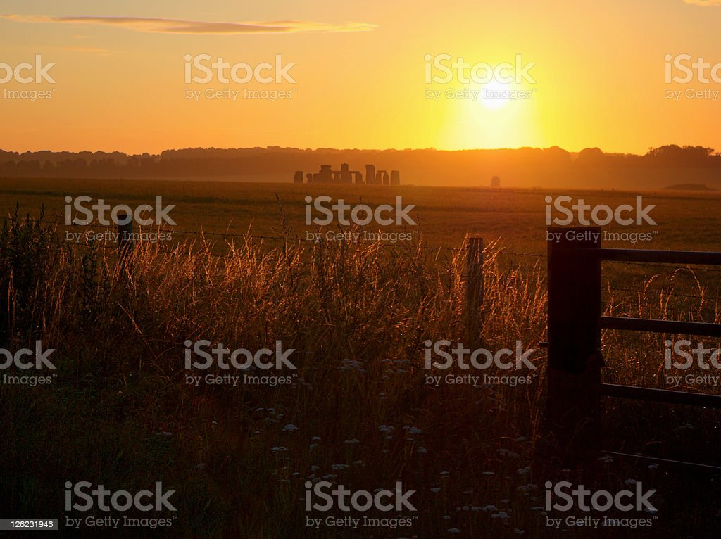View of Stonehenge Prehistoric Monument with Summer Sunrise stock photo
