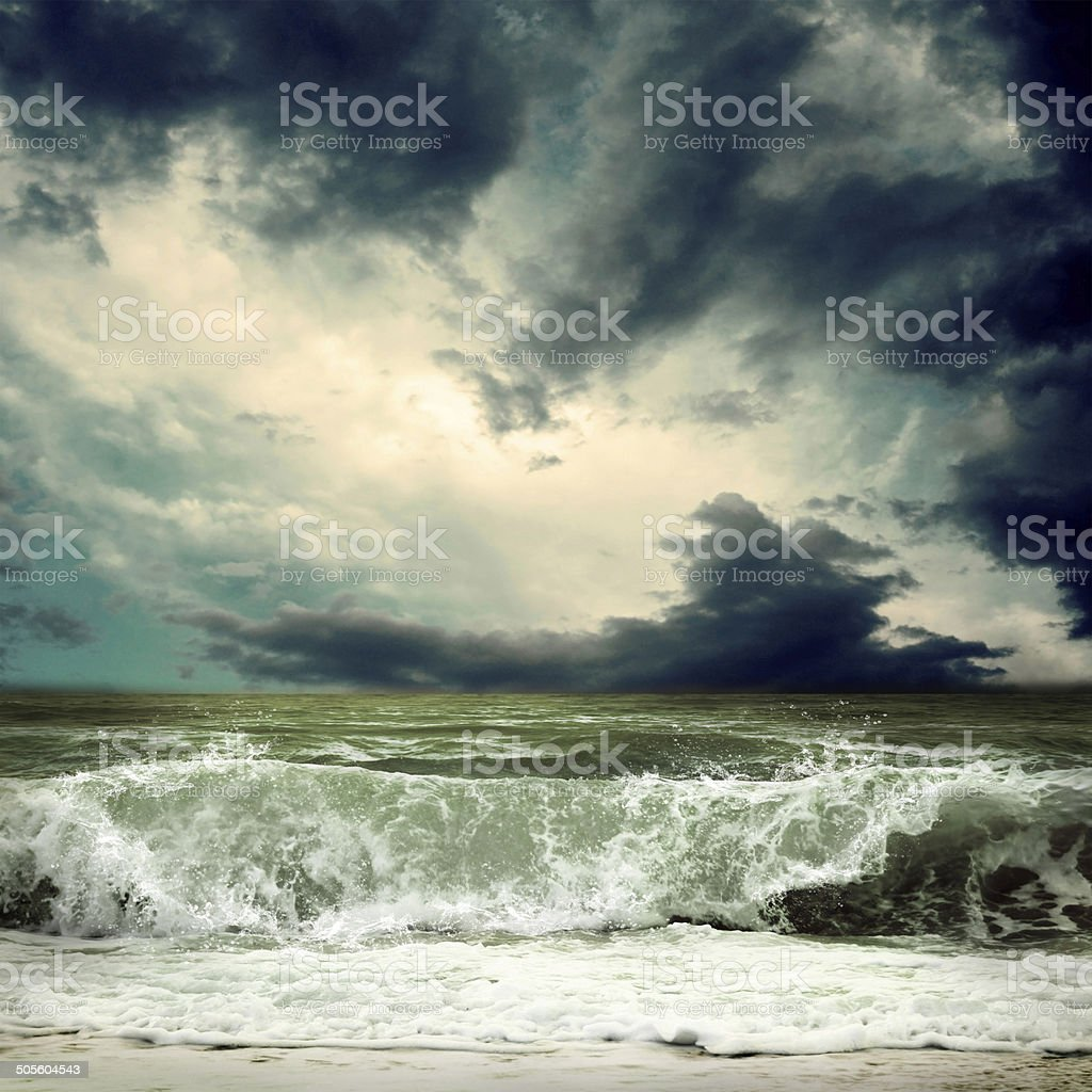 View of storm seascape stock photo