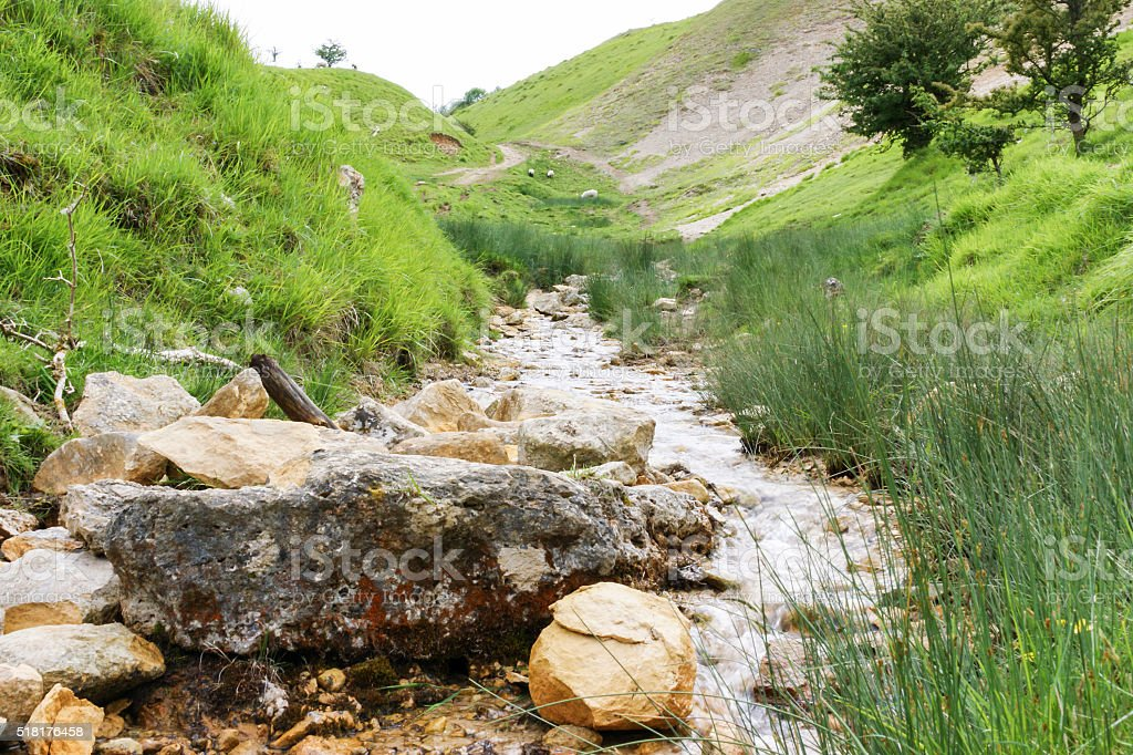 View of stream in the Cotswolds. stock photo
