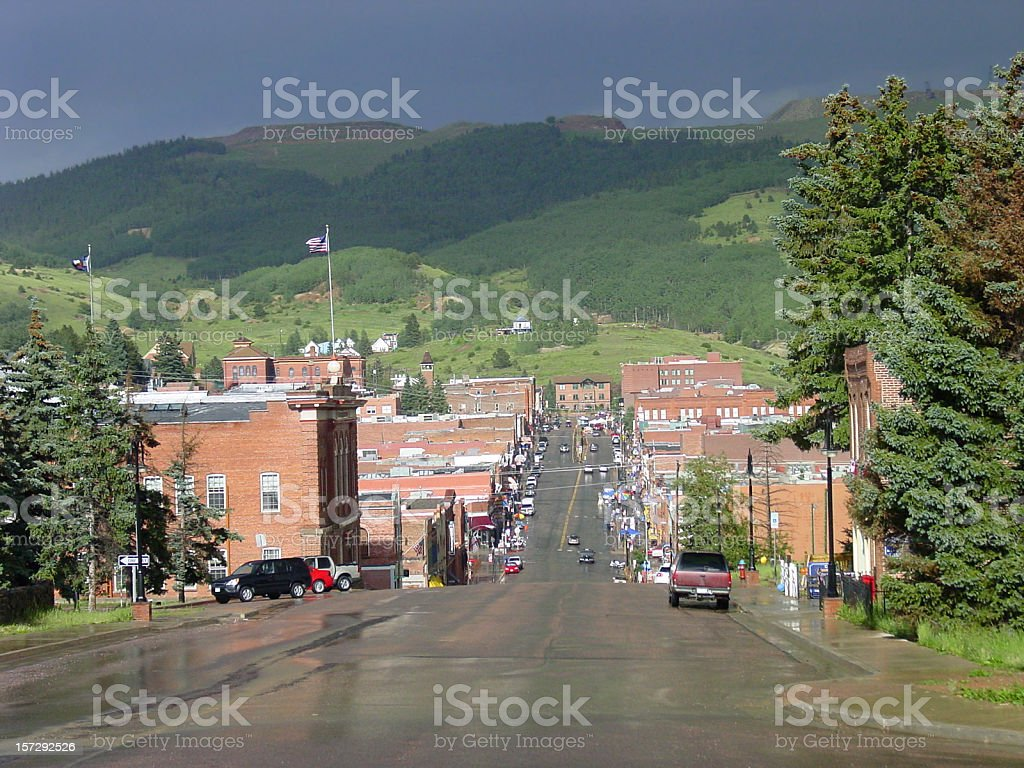 View of street in Cripple Creek in Colorado stock photo