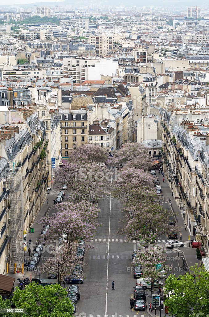View of street in Paris from the Arc de Triomphe stock photo
