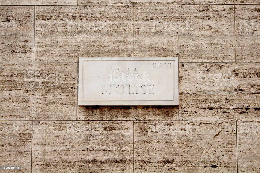 View of street sign (Via Molise) in Rome. stock photo